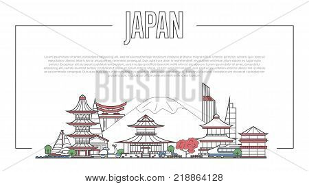 Japan landmark panorama with famous modern and ancient architecture in trendy linear style. Japanese national landmarks on white background. Worldwide traveling and journey vector concept.