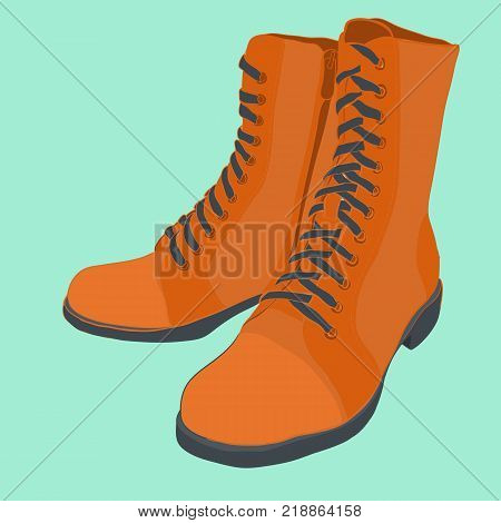 Vector illustration of hand drawn colorful men and women Footwear in isometric style. Shoes Casual and sport style, gumshoes, boots for cold seasons. Design isolated object.