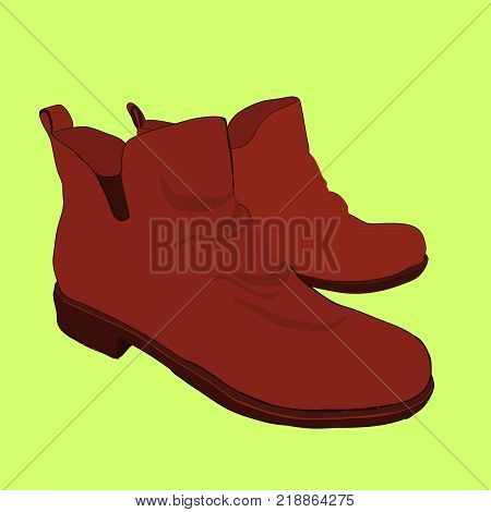 Vector illustration of hand drawn colorful women Footwear in isometric style. Shoes Casual and sport style, gumshoes, boots for cold seasons. Design isolated object.