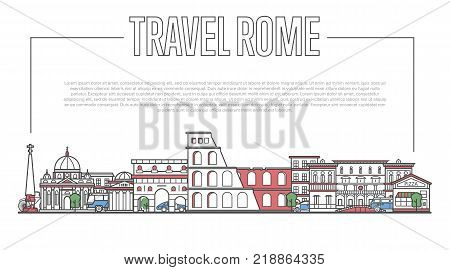Rome city landmark panorama with famous modern and ancient architecture in trendy linear style. Roman national landmarks on white background. Worldwide traveling and journey vector concept.