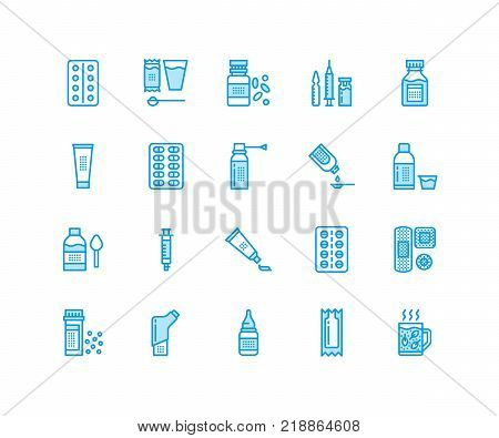 Medicines, dosage forms line icons. Pharmacy medicaments, tablet, capsules, pills, antibiotics, vitamins, painkillers. Medical threatment, health care linear signs for drug store Pixel perfect 64x64