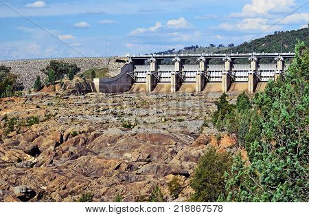 Radial Spillway gates of Wyangala Dam at the junction of the Lachlan and Abercrombie Rivers, central west region, New South Wales, Australia.
