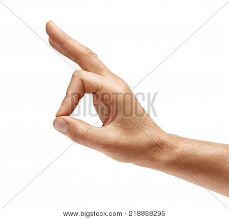 Man's hand shows gesture okay. Positive concept. Close up. High resolution product