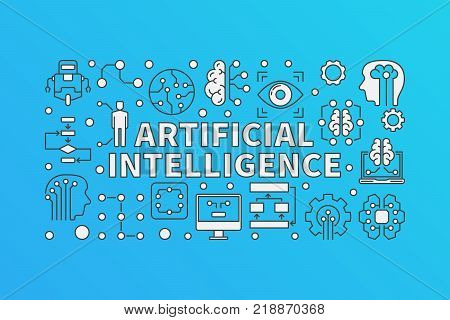 AI modern illustration. Vector Artificial Intelligence banner on blue background