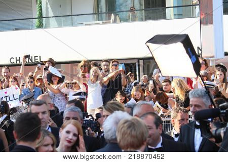 CANNES, FRANCE. May 28, 2017: Fans at the Closing Gala for the 70th Festival de Cannes