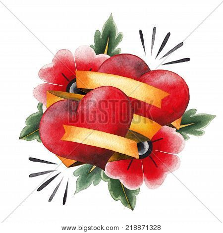 Two watercolor hearts decorated with yellow ribbons and stylized flowers. Hand painted art for old school tattoo design isolated on white bafckground