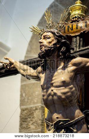 Christ of the forgiveness in the parish church of Santa Cruz Cadiz Spain