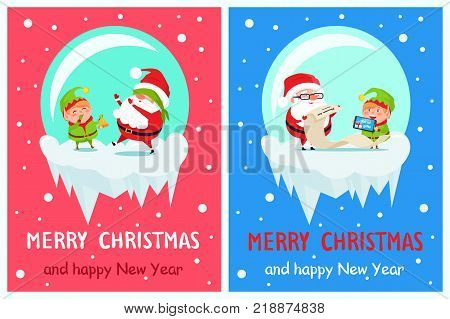 Happy New Year Merry Xmas postcard Santa and Elf playing hide-and-seek with covered eyes, reading wish list on paper scroll, digital tablet vector