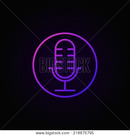 Microphone in circle colorful vector mic icon or symbol on dark background