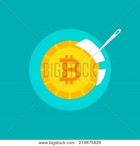 Bitcoin Bubble Concept. Vector Illustration of Financial Crush.