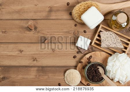 Handmade Coffee Scrub. Oat Soap. Luffa Sponge. Toiletries, Spa Set. Top View