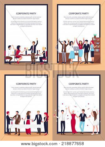 Corporate party set of posters with co-workers celebrating success together in office, with wine and confetti on vector illustration in frame with text