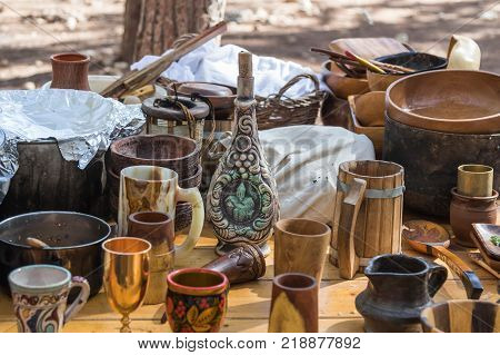 Ben Shemen Israel November 11 2017 : Viking dishes are on the table at the reconstruction of the life of the Vikings -