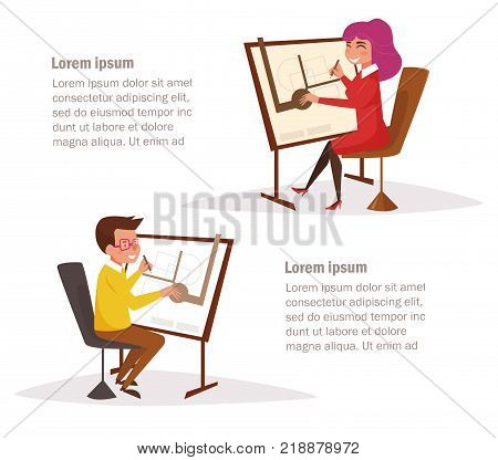 Architects at the drawing boards. Vector. Cartoon. Isolated art on white background. Flat
