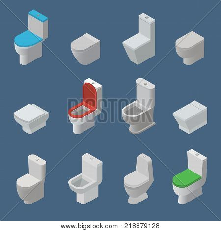 Toilet bowl and seat vector isometric icons toiletries flush and bathroom ceramic equipment or sanitary toilette in wc closet or lavatory with toiletware illustration isolated on background.