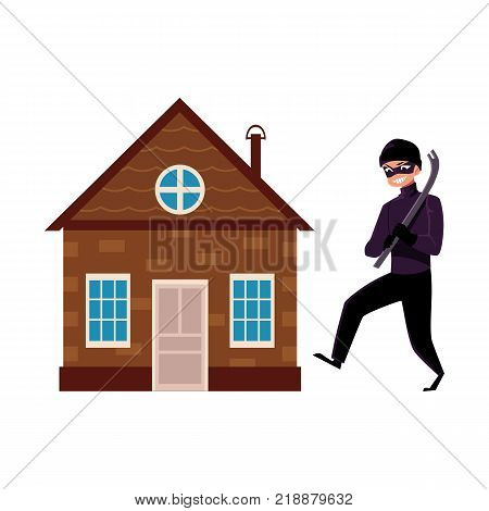 Vector flat house insurance concept set. House being attacked by housebreaker, burglar or thief in black suit holding crowbar. Isolated illustration on a white background.