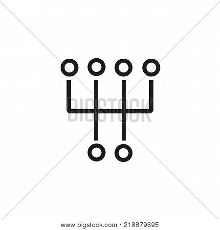 Line icon of manual transmission symbol. Engine, manual gearbox, gearshift. Automobiles concept. Can be used for topics like transportation, technology, mechanics