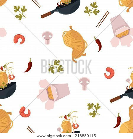 vector flat asian wok seamless pattern. Udon noodles in paper box, large royal shrimp, chili pepper and mushroom, pan. Stir fry eastern fastfood icons for menu design. Isolated illustration