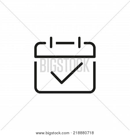 Line icon of paper with tick. Calendar, task, exam. Time management concept. Can be used for topics like business, management, planning