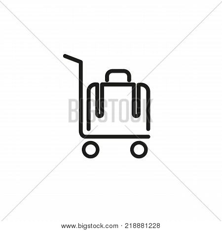 Line icon of luggage on cart. Porter, tourist, luggage. Transportation concept. Can be used for topics like business trip, travel, tourism