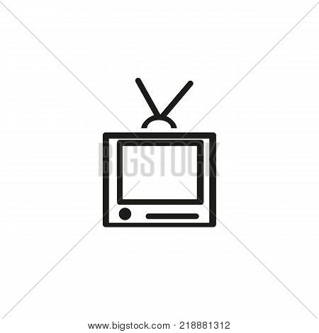 Icon of television set. TV, receiver, antenna, old-fashioned. Media concept. Can be used for topics like technology, electronics, broadcasting