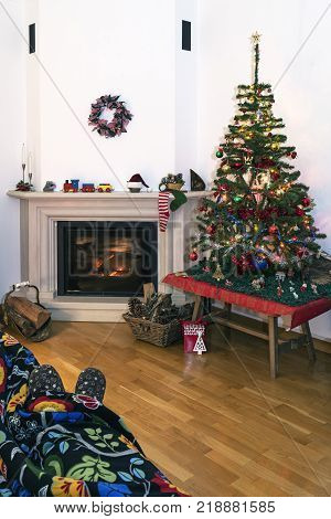 Break time in the comfort of the hearth in the christmas environment