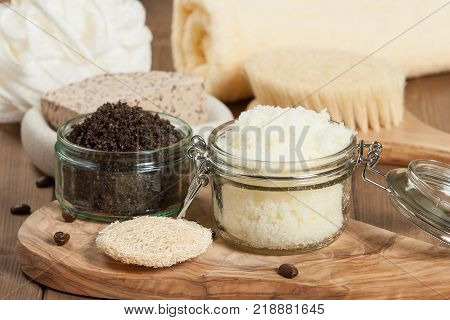Handmade Coffee Scrub And Lemon Scrub With Coconut Oil. Toiletries, Spa Set