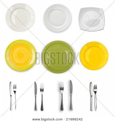 plates and silverware isolated on white collection