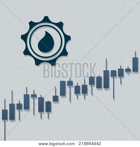 Oil currency trend with stock market bars and long shadows on light background. Market graph for option, forex, exchange