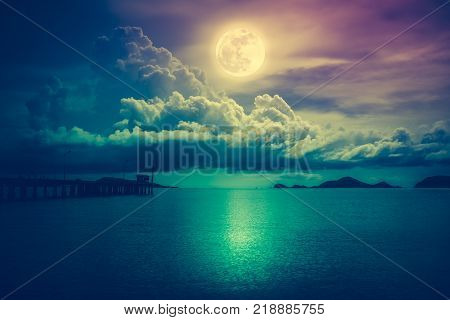 Bright Full Moon Above Wilderness Area, Serenity Nature Background.