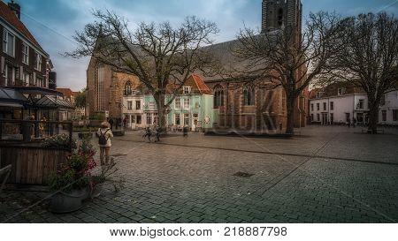Vlissingen, Zeeland, Holland/Netherlands - November 2017: Church Saint Jakob (Sint Jacobskerk) in the center of the town
