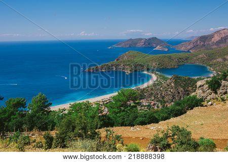 Panorama, beach Oludeniz, top view. Nature of turkey