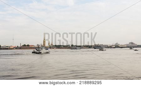 St. Petersburg, Russia - 28 July, Naval parade at the Petro-Pavlovsk fortress, 28 July, 2017. Festive parade of warships on the Neva River in St. Petersburg.