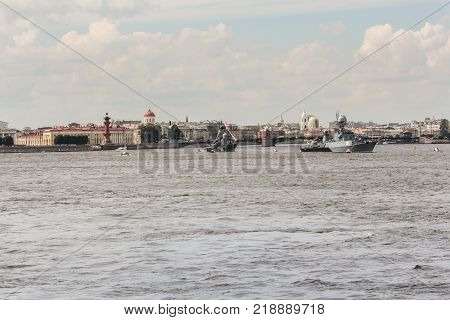 St. Petersburg, Russia - 28 July, Naval parade at the point of the Vasilievsky Island, 28 July, 2017. Festive parade of warships on the Neva River in St. Petersburg.
