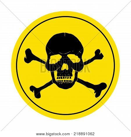 Yellow danger sign with skull. Round danger sign. Vector illustration.