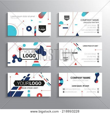 Set of business cards - vector template abstract background with place for your text, information, company name and contact information. Represent yourself and your firm in a bright way