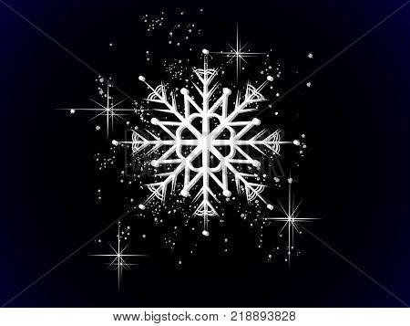Luxury white snowflake on the black background