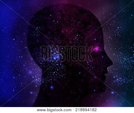 Galactic cosmic mind, vector art illustration Space.