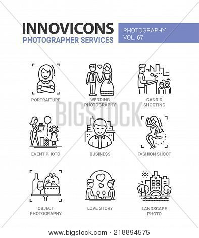 Photographer services - line design icons set with description. Portraiture, wedding and object photography, candid shooting, event and landscape photo, business, fashion, love story