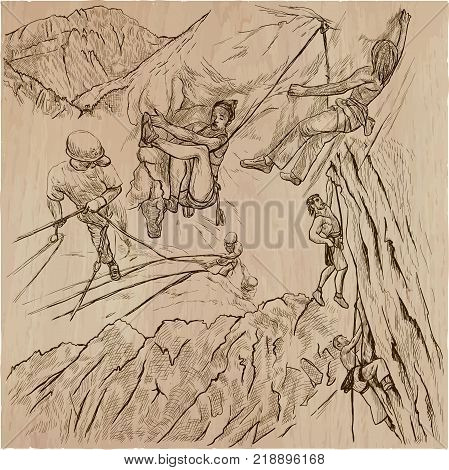 An hand drawn collection vector pack - CLIMBING. Outdoor activities Climbers climb the rocks. Extreme and adrenaline sporting events.