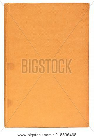 Plain Cover Of An Old Yellow Book Isolated On White With Clipping Path