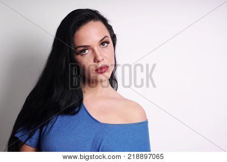 portrait of a beautiful young woman with copy space