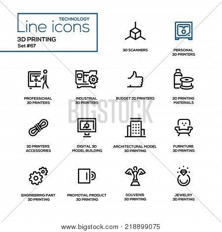 3D printing - line design icons set. Scanners, personal printers, professional, industrial, budget, materials, accessories, digital model building, architectural, furniture, engineering part, etc