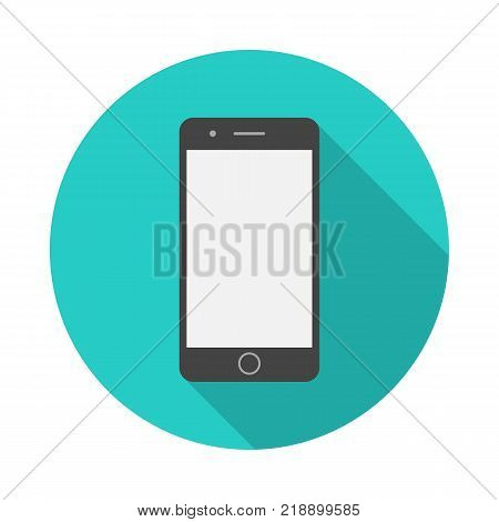 Mobile phone circle icon with long shadow. Flat design style. Smart phone simple silhouette. Modern minimalist round icon in stylish colors. Web site page and mobile app design vector element.