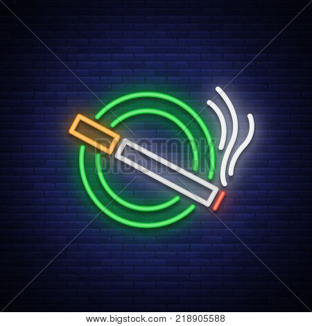 Smoking area neon sign. Neon symbol, a luminous sign is a place for smoking. Bright signboard. Vector illustration.