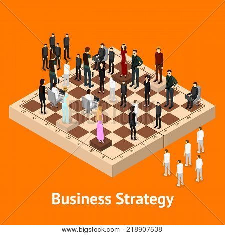 Chess People Figures on a Chessboard Isometric View Strategy Business Game or Corporate Competition. Vector illustration of Concept Strategy
