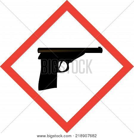 Hazard sign with gun symbol on white background