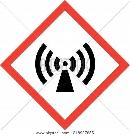 Hazard sign with non-ionizing radiation symbol on white background