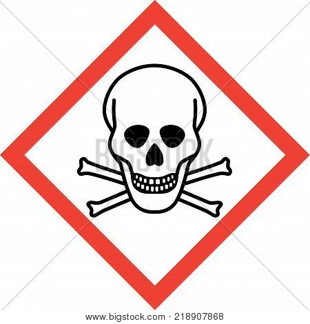 Hazard sign with deadly danger symbol on white background