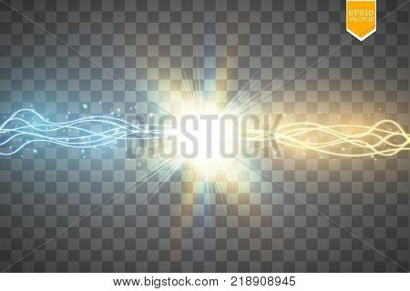 Collision of two forces with gold and blue light. Vector illustration. Hot and cold sparkling power. Light effect with sparks. Vector